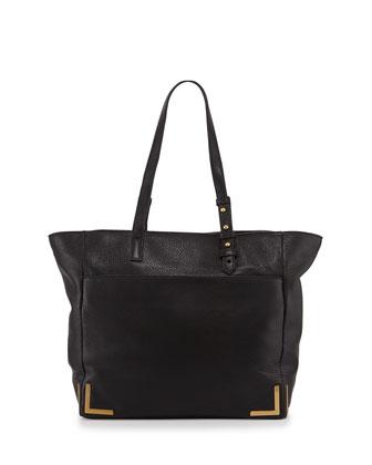 Linda Framed Leather Tote Bag, Black