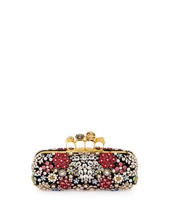 Knuckle Box Brooch Crystal Clutch Bag, Black
