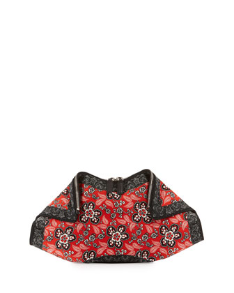 De-Manta Small Western-Print Satin Clutch Bag