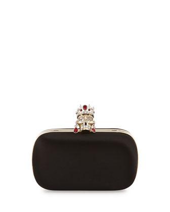 Crown & Earrings Satin Box Clutch Bag, Black