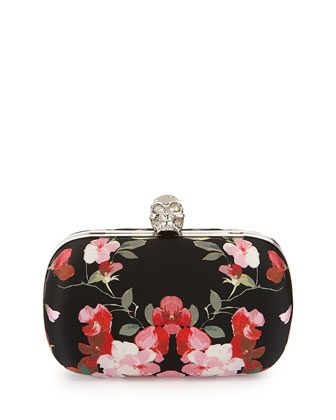 Classic Skull Floral Satin Clutch Bag w/Chain