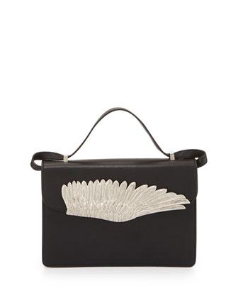 Metal Winged Flap Crossbody Bag, Black