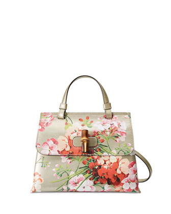 Daily Blooms Small Floral-Print Frame Bag, Gold