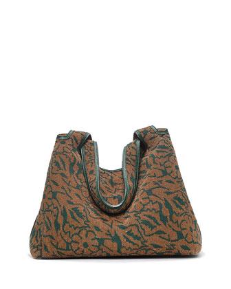 Duplex Floral Beaded Hobo Bag, Cigar Dark Spruce