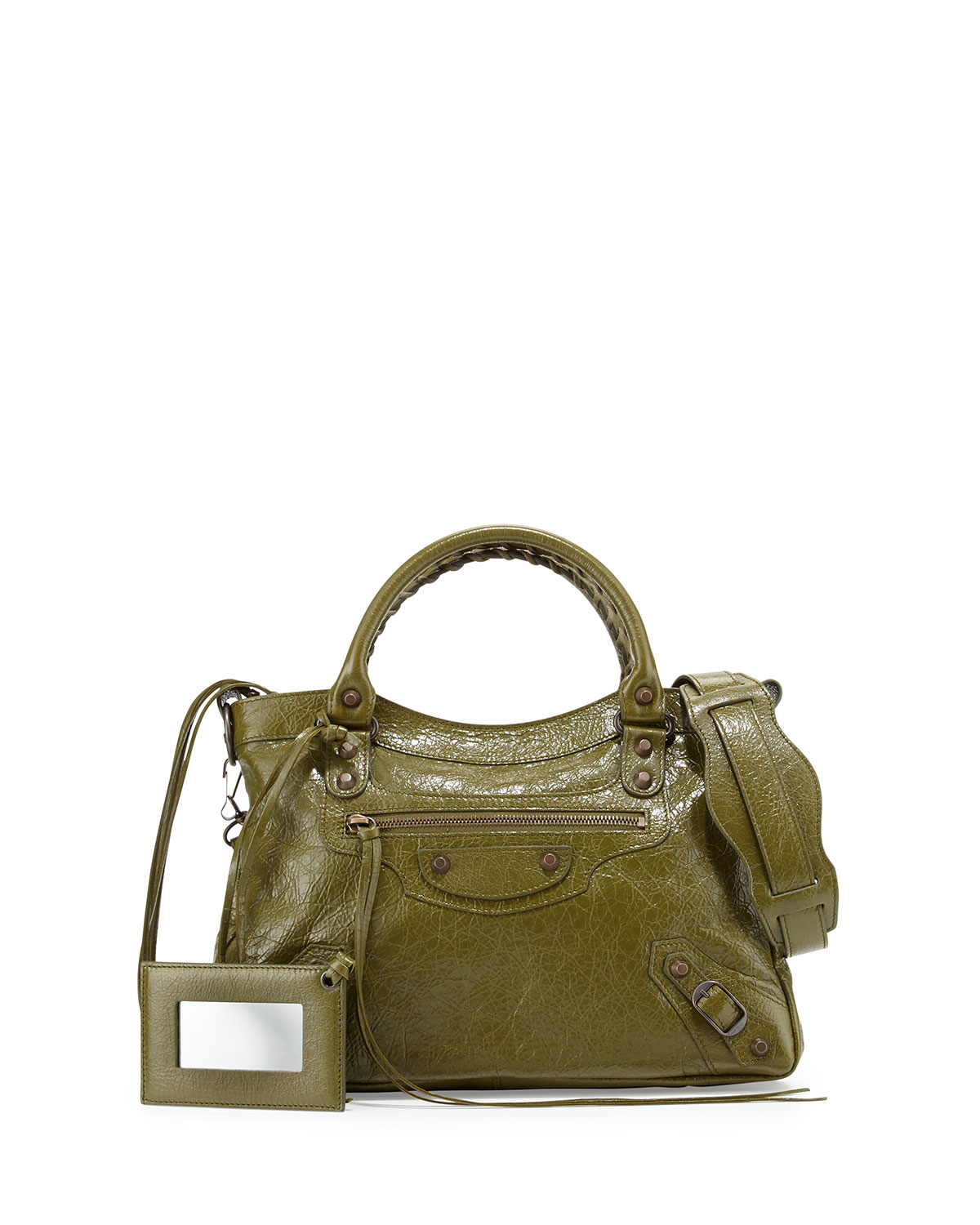 Classic City Town Lambskin Tote Bag, Olive Green - Balenciaga