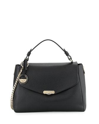 Pebbled Leather Satchel Bag, Black