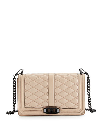 Love Quilted Turn-Lock Crossbody Bag, Latte