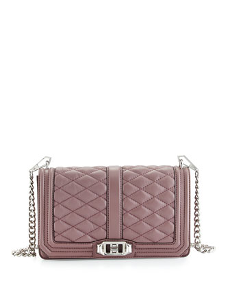Love Quilted Turn-Lock Crossbody Bag, Mauve