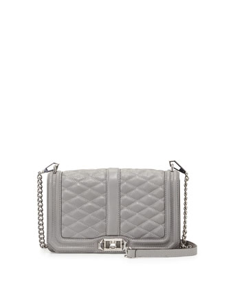 Love Quilted Crossbody Bag, Charcoal