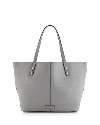 Pebbled Leather Unlined Tote Bag, Charcoal