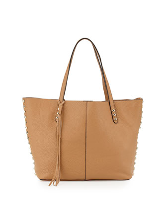 Pebbled Leather Unlined Tote Bag, Cuoio