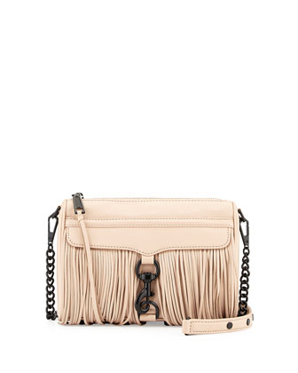 Fringe Mini MAC Crossbody Bag, Latte