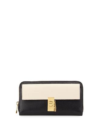 Drew Bicolor Zip-Around Wallet, Black/White