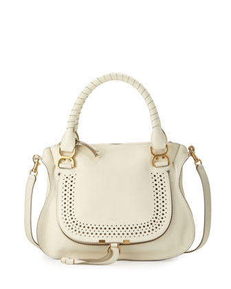 Marcie Medium Perforated Shoulder Bag, White