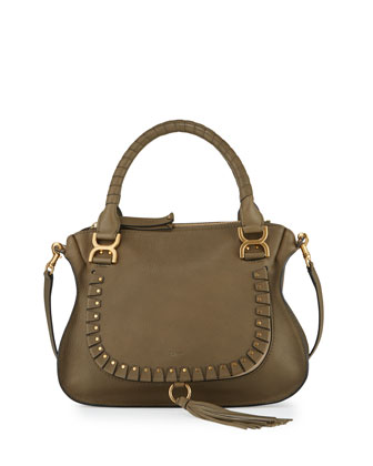 Marcie Medium Studded Satchel Bag, Gray