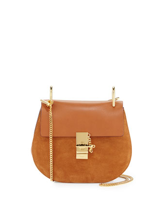 Drew Small Leather/Suede Shoulder Bag, Brown