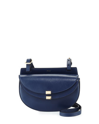 Georgia Mini Leather Crossbody Bag, Navy