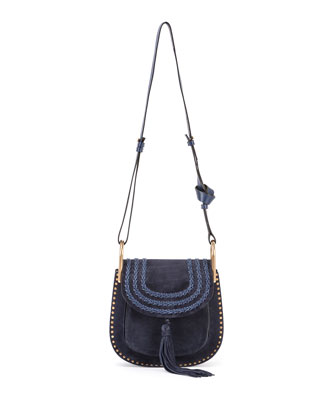 Hudson Small Suede Shoulder Bag, Navy