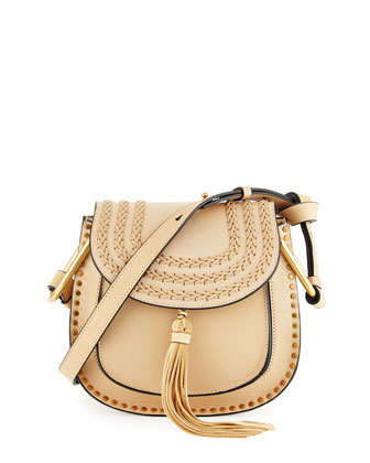 Hudson Small Leather Shoulder Bag, Beige