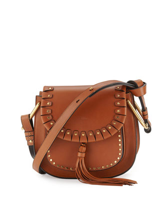 Hudson Small Studded Shoulder Bag, Caramel