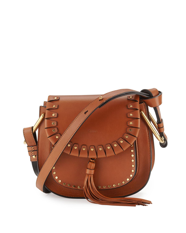 Hudson Small Studded Shoulder Bag, Caramel, Size: S - Chloe