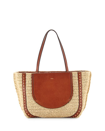 Isa Woven Shopper Tote Bag, Natural