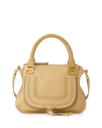 Marcie Medium Leather Satchel Bag, Eggshell