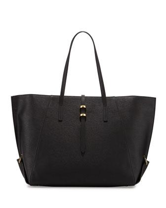 Eartha Folded-Gusset Leather Shopper Tote, Black