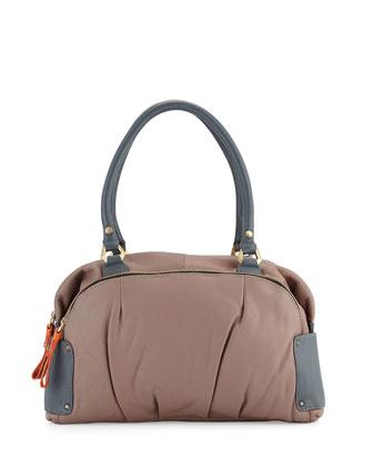 Tina Two-Tone Leather Satchel Bag, Mushroom Multi
