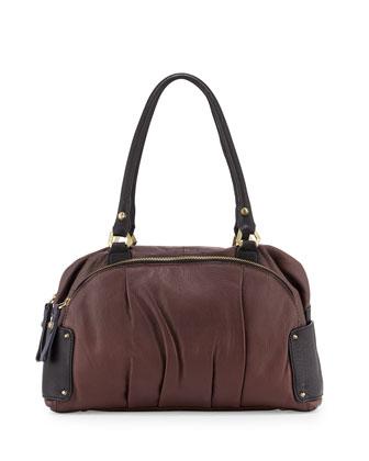 Tina Two-Tone Leather Satchel Bag, Espresso Multi