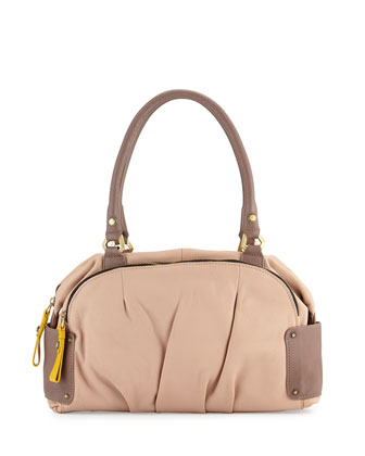 Tina Two-Tone Leather Satchel Bag, Almond Multi