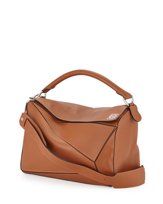 Large Puzzle Satchel Bag, Tan