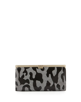 Camille Leopard Patent Glitter Clutch Bag, Gray/Black