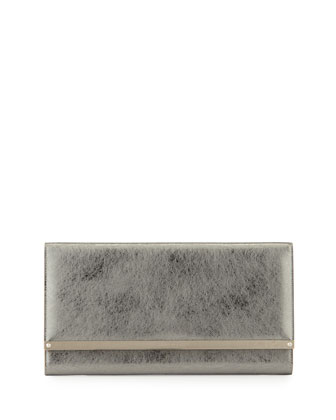 Maia Metallic Leather Clutch Bag, Silver