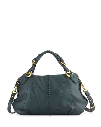 Daria Leather Satchel Bag, Teal