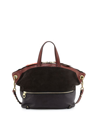 Nikki Suede & Leather Tote Bag, Coffee Multi