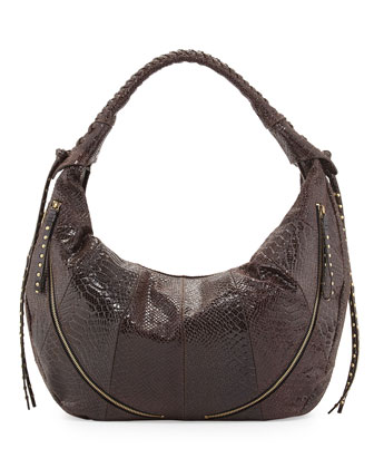 Jasmine Anaconda-Print Leather Hobo Bag, Espresso