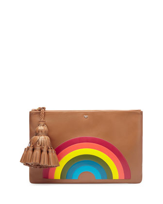 Georgiana Rainbow Clutch Bag, Caramel