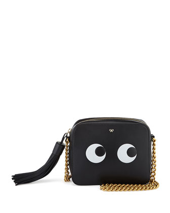 Eyes Leather Crossbody Bag, Black