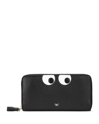 Eyes Large Zip-Around Wallet, Black
