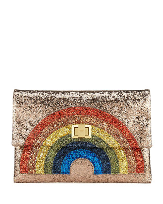 Georgiana Rainbow Glitter Clutch Bag, Bronze
