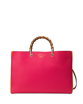 Bamboo Large Shopper Tote Bag, Fuchsia/Orange
