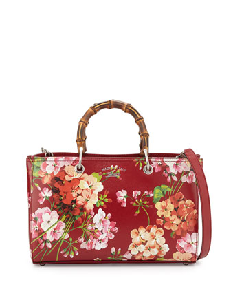 Bamboo Shopper Blooms Leather Tote Bag, Red