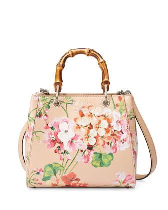 Bamboo Shopper Mini Blooms Crossbody Bag, Nude