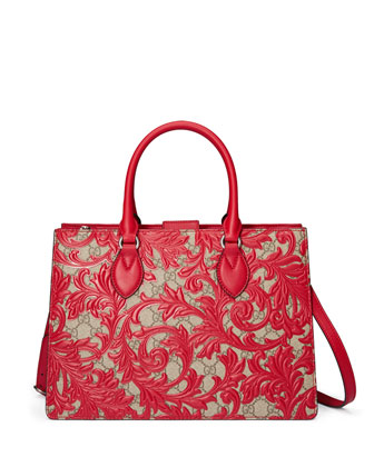 Arabesque Canvas Top Handle Bag, Red