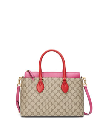 GG Supreme Small Tote Bag, Red/Pink