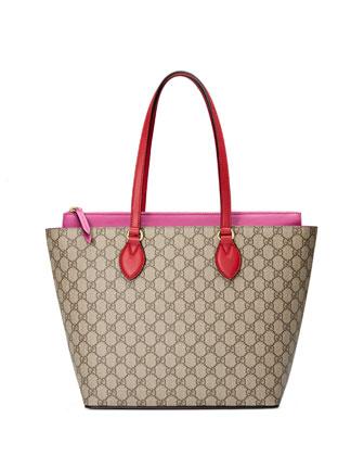 GG Supreme Tote Bag, Red/Pink
