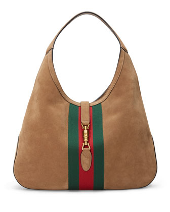 Jackie Soft Large Suede Hobo Bag, Taupe