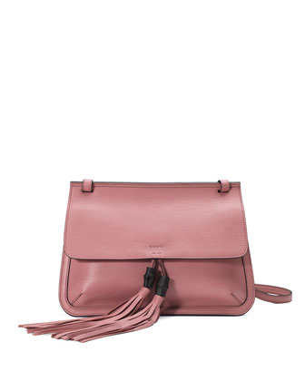 Bamboo Daily Leather Flap Shoulder Bag, Soft Pink
