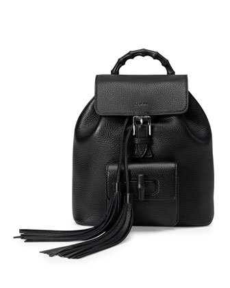 Bamboo Small Leather Backpack, Black